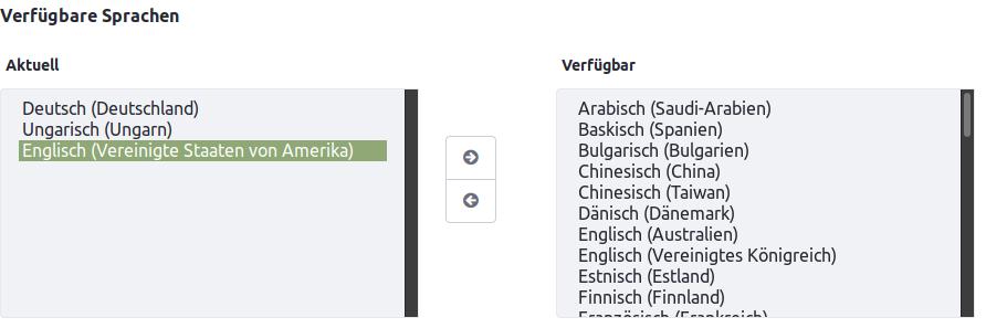 Screenshot von aktuell eingestellten Sprachen